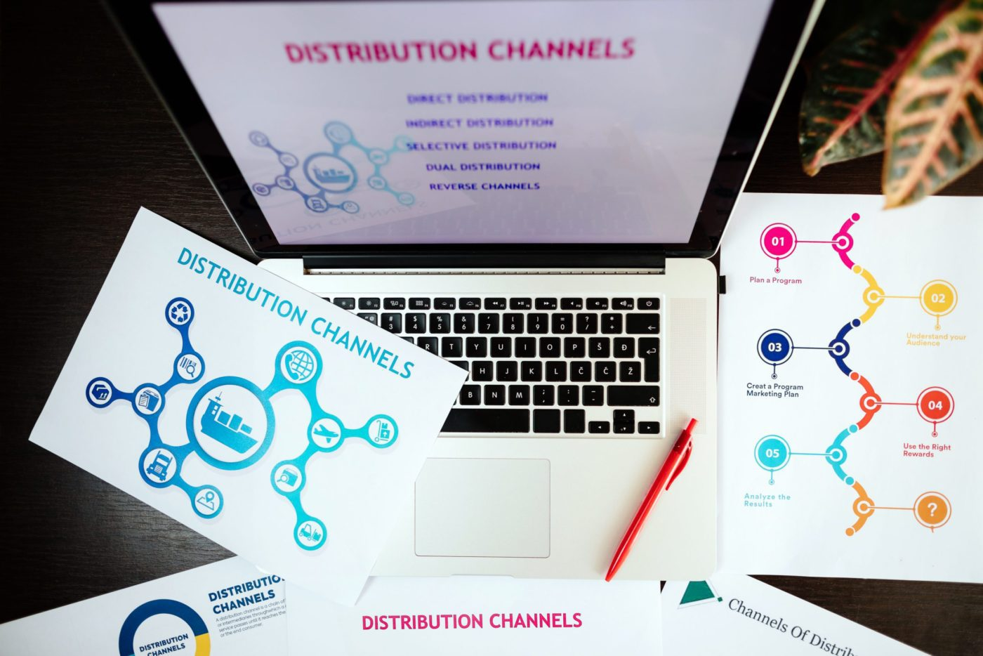 marketing distribution channels plan on office desk. Marketing manager desk with plans and strategy of distributive channels for new product.