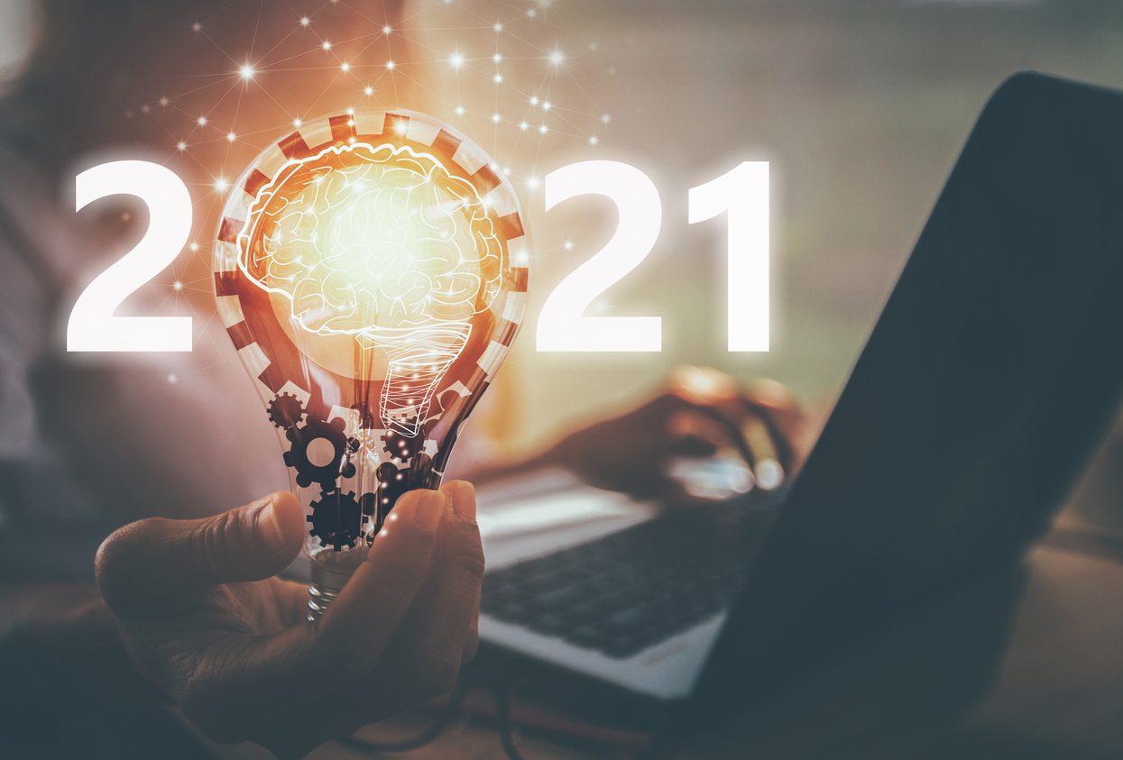 creative idea.Concept of idea and innovation.New Concept 2021