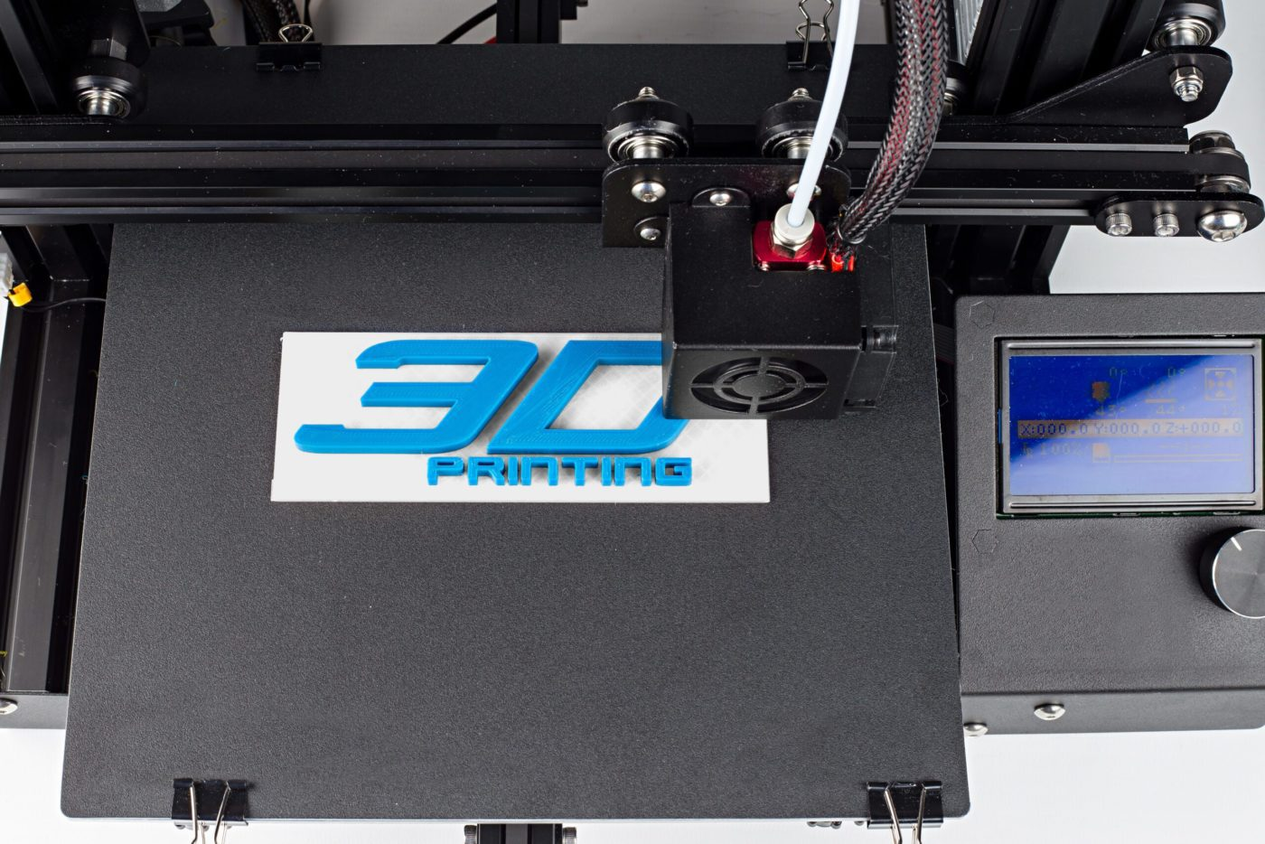 3d print of printer printing logo symbol lettering with white blue pla filament modern future technology concept background