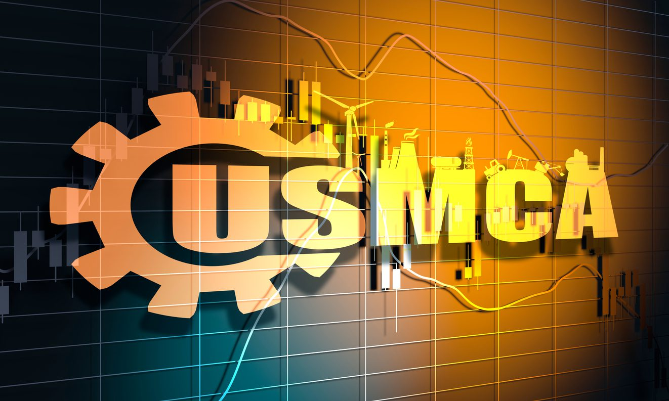 Forex candlestick pattern. USMCA - United States Mexico Canada Agreement. concept. Financial market chart. 3D rendering
