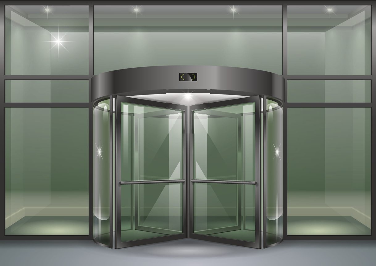 The facade of a modern shopping center or station, an airport with revolving doors. Vector graphics