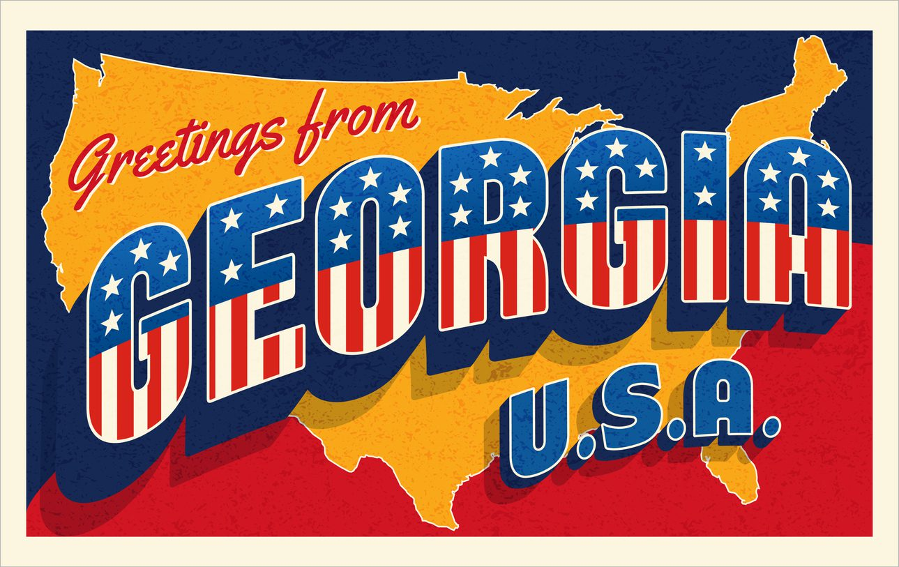 Greetings from Georgia USA. Retro style postcard with patriotic stars and stripes lettering and United States map in the background. Vector illustration.