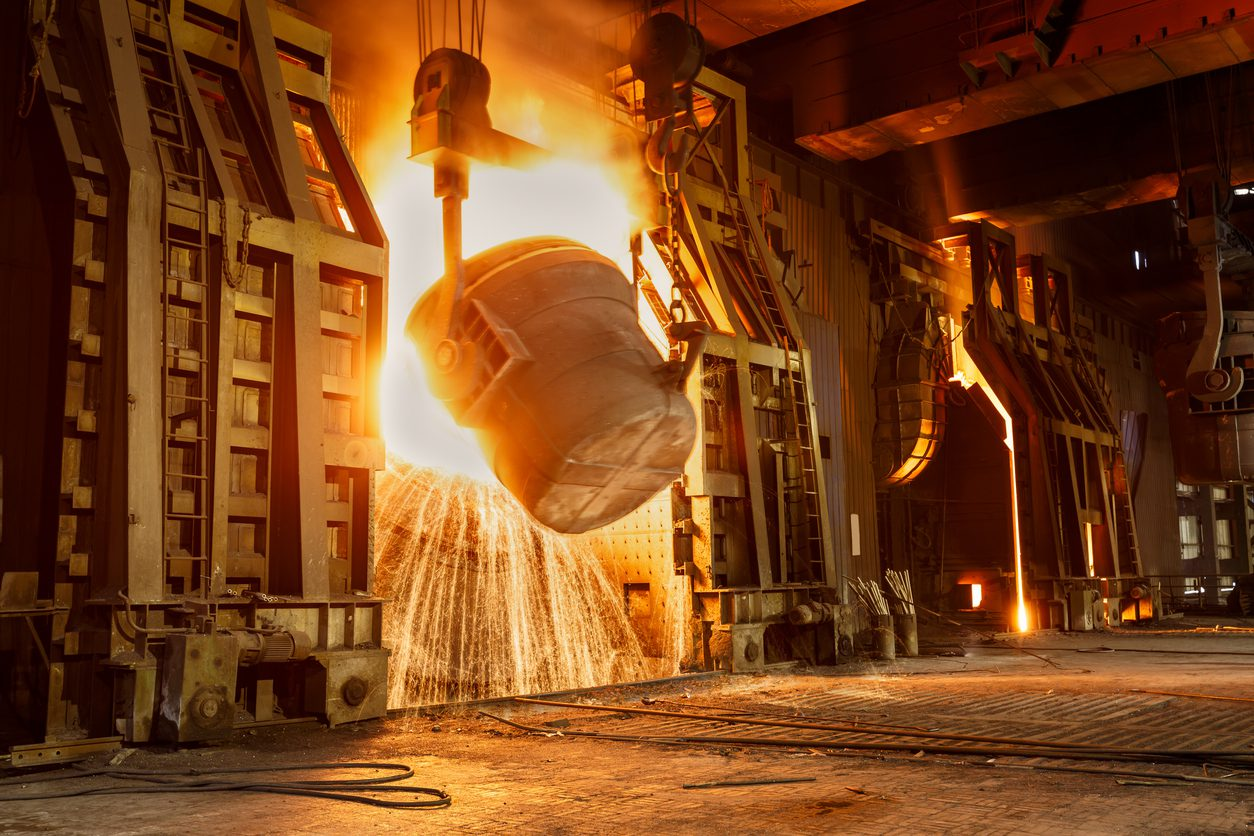 Metal smelting furnace in Chinese steel mills