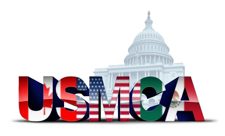 USMCA USA legislation trade agreement or the new NAFTA United States Mexico Canada with north america flags as a deal negotiation and economic deal for the American Mexican and Canadian governments as a 3D illustration.