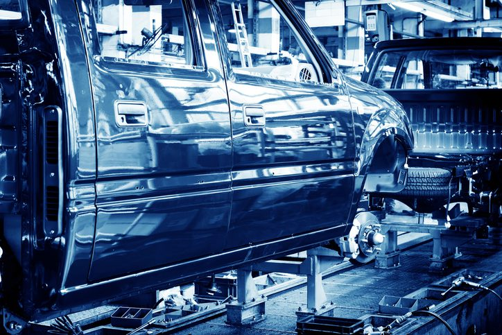 Factory floor, car production lines.