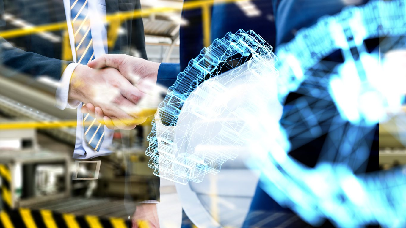 Cyber communication and robotic trend , Industrial 4.0 Cyber Physical Systems technology concept. Double exposure of business men handshake teamwork , welding automate robot arm in smart factory