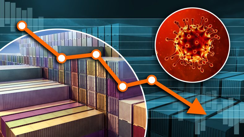 Global economic crisis. Stacked cargo containers. Coronavirus COVID-19 Outbreak. 3D rendering