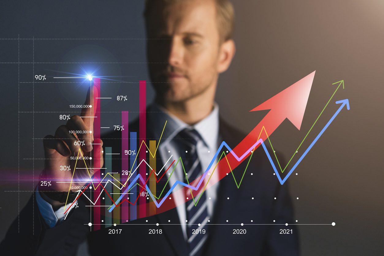 smart caucasian businessman white collar hand point financial stock chart busines financial ideas concept