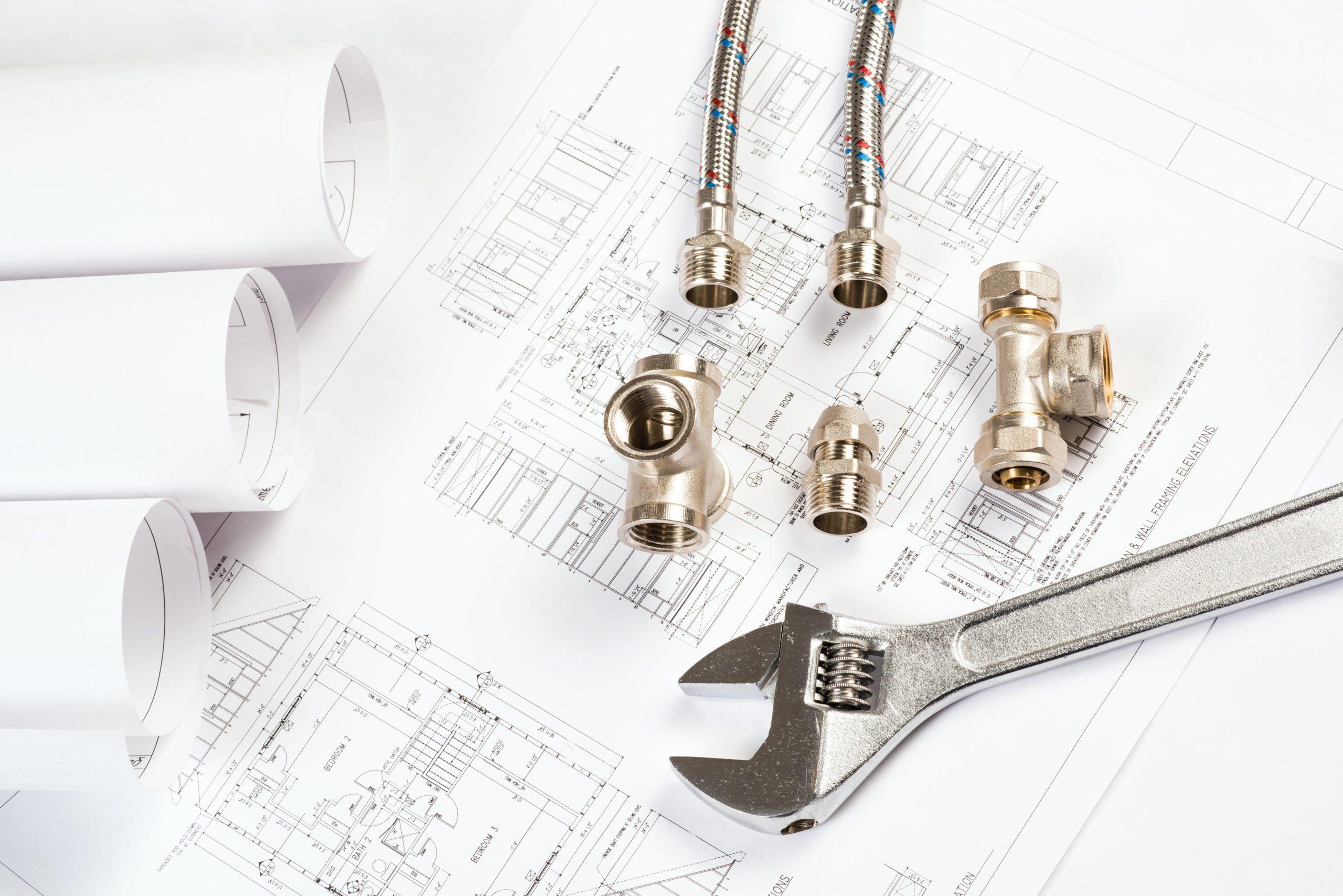plumbing and drawings are on the desktop, workspace engineer