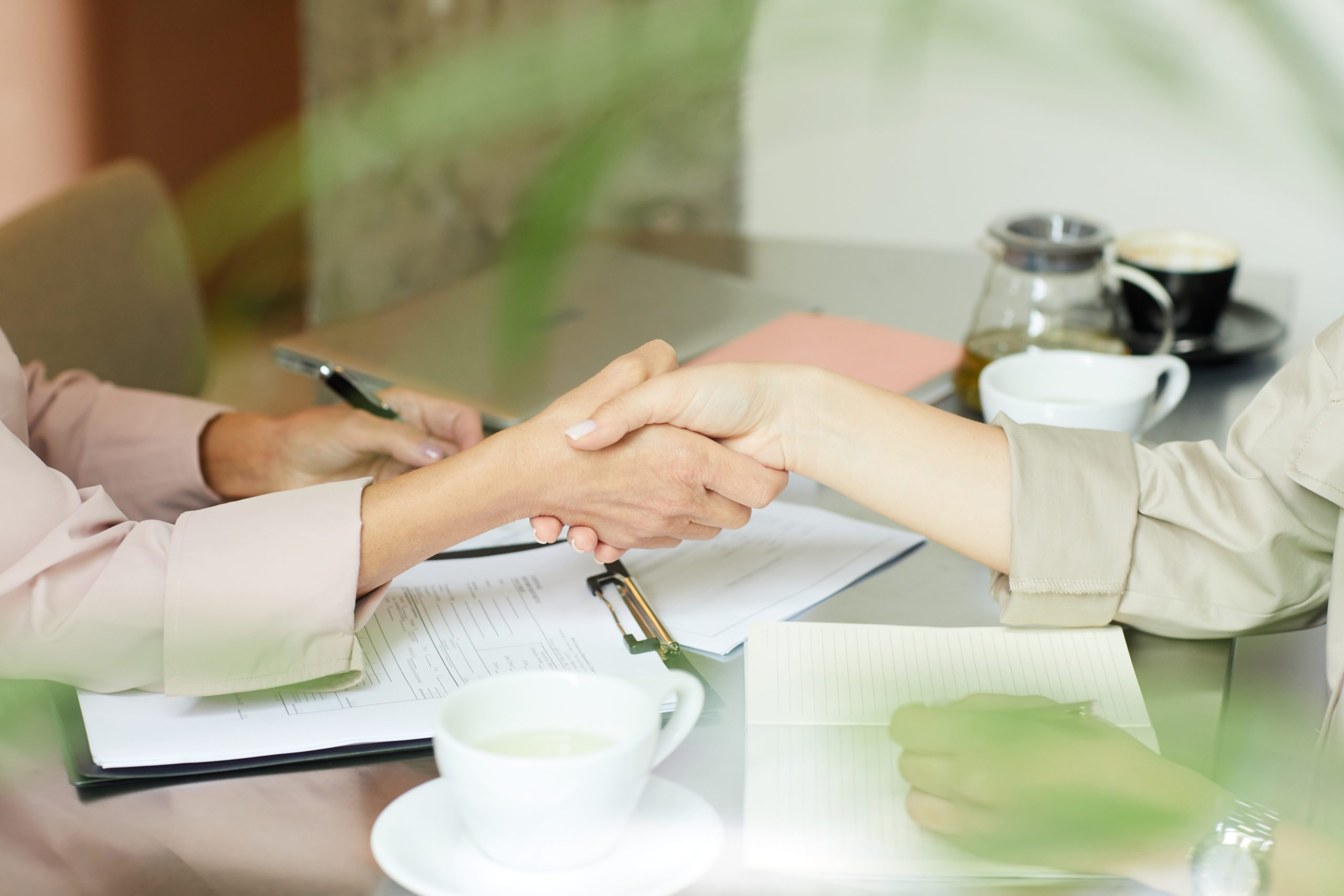 Close-up of two female colleagues shaking hands at the table they concluding a business contract